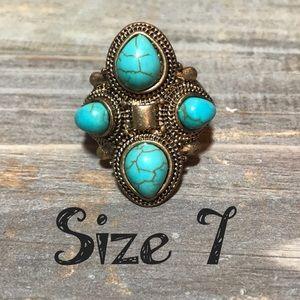 💍Semi precious turquoise chunky fashion ring 7